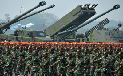 Indonesia military troops stand in form
