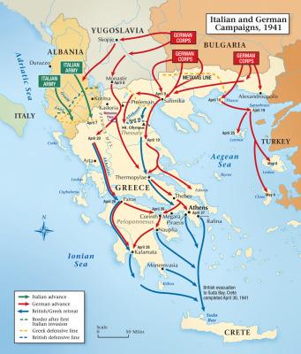 Pergerakan Pasukan Itali dan Jerman (serta Axis) di Yunani taun 1941
