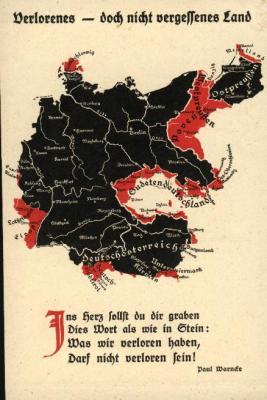 Peta Jerman Setelah Perjanjian Versailles -Bagian Yang Warna Merah adalah yang Harus Pisah dari Jerman
