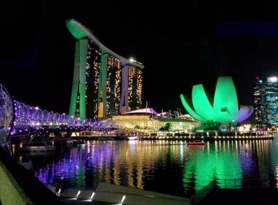 Marina Bay Sands Singapore di Malam Hari