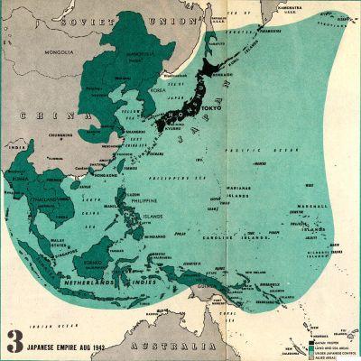 Peta Kekaisaran Jepang 1942-1945 (Sumber : lib.berkeley.edu)
